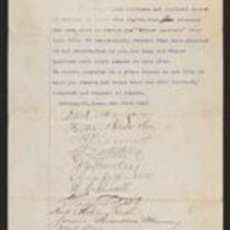 Document: Winter Quarters Petition, November 23, 1887