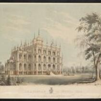 Lithograph: Iranistan, an Oriental Villa (owned by the Bridgeport History Center)