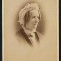 Photograph: Charity Barnum (Mrs. P. T. Barnum), wearing white cap