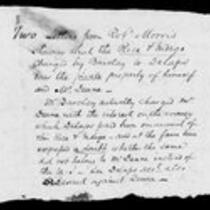 Silas Deane Papers: Correspondence Robert Morris to Silas Deane 1776 August 11, September 12
