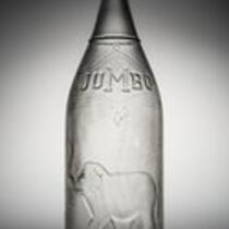 Physical object: Glass bottle featuring Jumbo