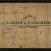 Document: Receipt to Charles S. Stratton from Sammis & Fairchild Clothiers, 1872