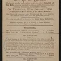 Document: Advertisement for lecture given by P. T. Barnum at Grosvenor Square, January 30, 1890