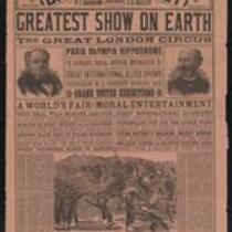 Courier: Barnum and Bailey Greatest Show on Earth and the Great London Circus for Lowell, July 5, 1889 [red paper]