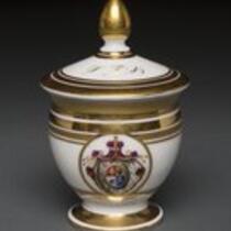 Dinnerware: Custard cup with lid, belonging to P. T. Barnum