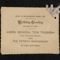 Physical object: Birthday card for M. Lavinia Warren