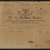 Document: Clothing receipt from Matthew Vowels [...] Tailors for Charles S. Stratton, October 31, 1866