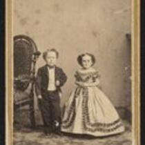 Photograph: George Washington Morrison Nutt and Minnie Warren in different clothes as groomsman and bridesmaid (Barnum Museum)