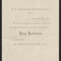 Invitation: Invitation to P.T. Barnum's Hippodrome featuring the visit of King Kalakaua in 1874