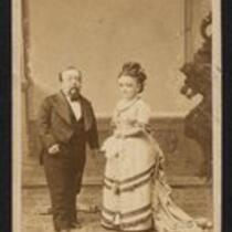Photograph: Charles S. Stratton and M. Lavinia Warren older, together on a balcony (owned by the Barnum Museum)