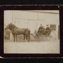 Photograph: A.S. Middlebrook, wife, and friends in horse carriage