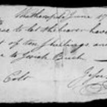 Silas Deane Papers: Business and Legal: Orders on behalf Josiah Buck endorsed by Jesse Deane, 1784, 1786