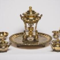 Tea service set: Samovar, teapot, creamer, sugar bowl, and waste bowl