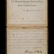Letter: Souvenir Contract with P. T. Barnum & Co., 1888